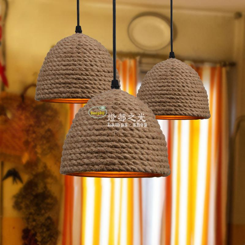 American industrial retro cafe bar creative personality art handmade rope Chandelier ZL4289 american village restaurant coffee museum creative personality retro handmade decorative rope chandelier brown single head 3m