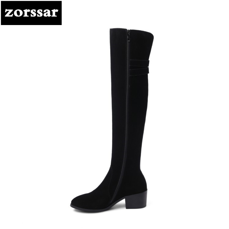 {Zorssar} Ladies Knee High Boots Winter Suede Leather Thick high Heel Long Boots Black Warm Fur Women Over the knee boots Shoes цена 2017
