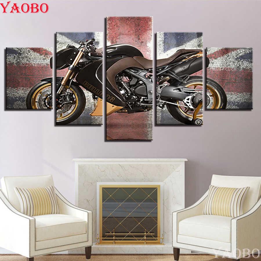 5 шт. набор алмазная живопись мотоцикл плакаты DIY 3d-бриллиантовая вышивка крестиком наборы Алмазная мозаика горный хрусталь украшения