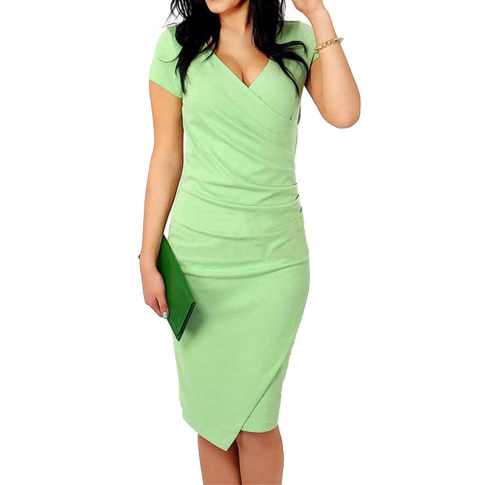 AAMIKAST New Fashion V-neck Short Sleeve Irregual Tail Pencil Party Evening  Sexy Bodycon Women b15107aad141