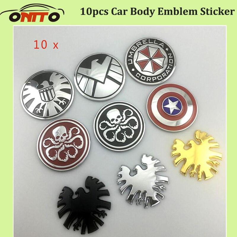 10 pcs 3D Métal étiquette corps Emblème boot Autocollant Tronc Logo Décoration badge Captain America parapluie bouclier de voiture