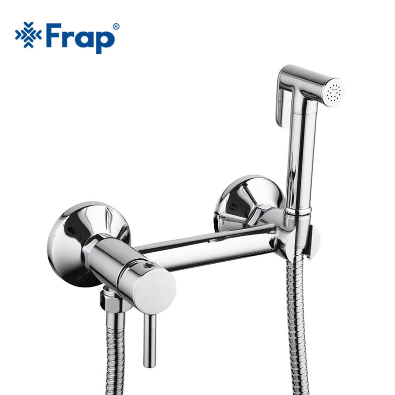 Frap new 1Set Solid Brass Tube Cold and Hot Water Shower Mixer with Bidet Shower Head Single Handle Tap Crane 7503