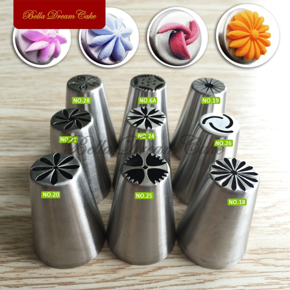 9pcs Russia Nozzles Cake Decorating Tools for Cupcake Cookies Flower Decoration Icing Piping Nozzle Pastry Tip GumpasteJG-9PCS-1