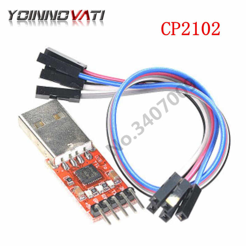Silver Red New CP2102 STC Download USB to TTL Module w// Dupont Cables
