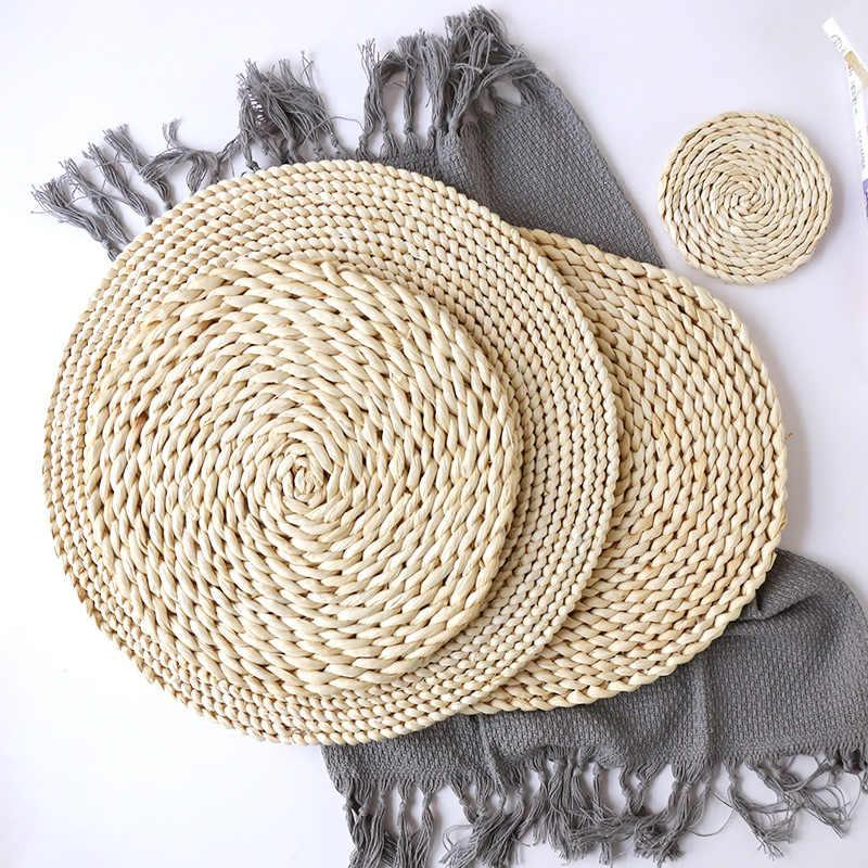 Кукурузный меховой тканый обеденный стол коврик термос держатель круглые подставки кофе для чайной кружки столовые приборы Подставка под кружку