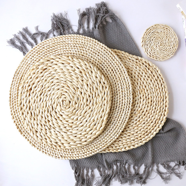 Corn fur woven Dining Table Mat Heat Insulation Pot Holder Round Coasters Coffee Drink Tea Cup Table Placemats Mug Coaster