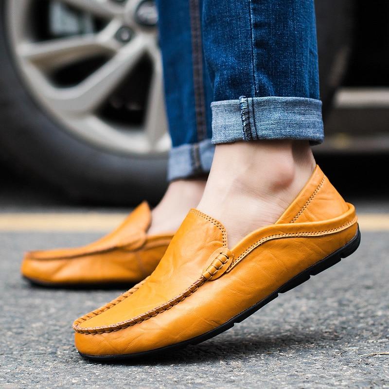 Zapatos de hombre de cuero de vaca genuino mocasines de diseñador deslizamiento en mocasines planos zapatos de barco calzado masculino Chaussure Homme tamaño 39  47-in Mocasines from zapatos    1