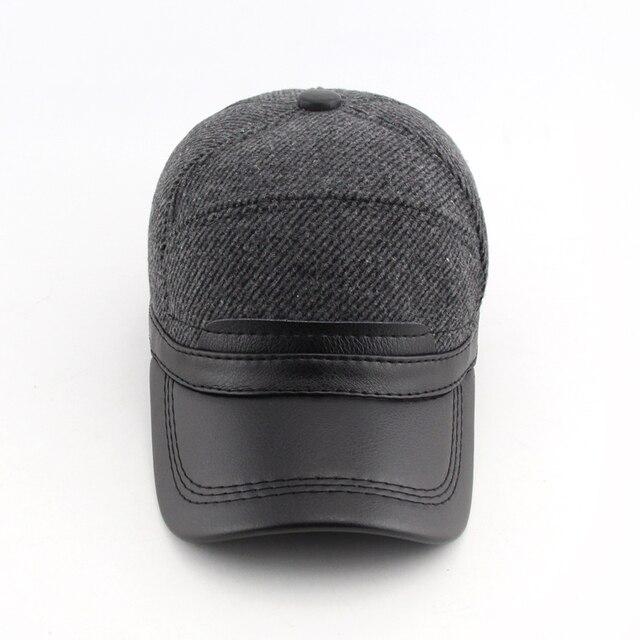 BFDADI 2016 Warm Winter Baseball Cap Men Brand Snapback Large Size 59 60 cm Baseball Mens Fashion Hats Ear Flaps Free Shipping