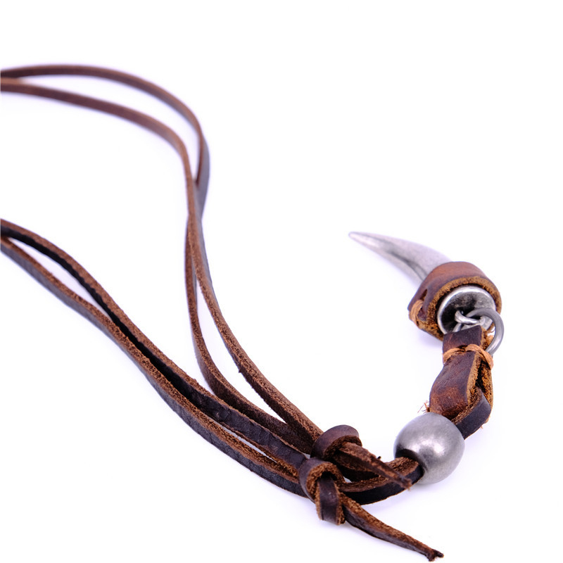 NIUYITID Horn Pendant Necklace Men Brown Genuine Leather Necklace Jewellery Manmade Ethnic Charm Accessories Drop Shipping (7)