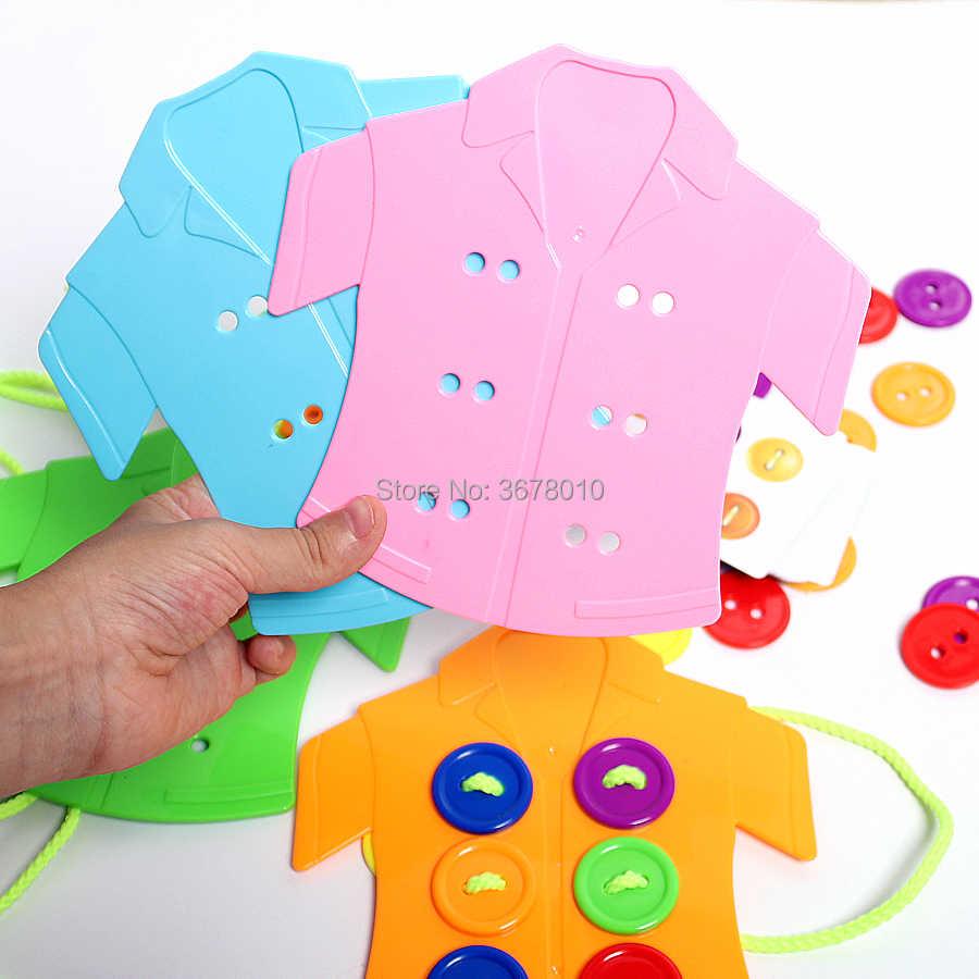 ปุ่ม threading เกมกระดานปริศนา, เสื้อผ้า lacing ของเล่น, เชือกเกลียว Montessori Sensory Early การศึกษาของเล่น
