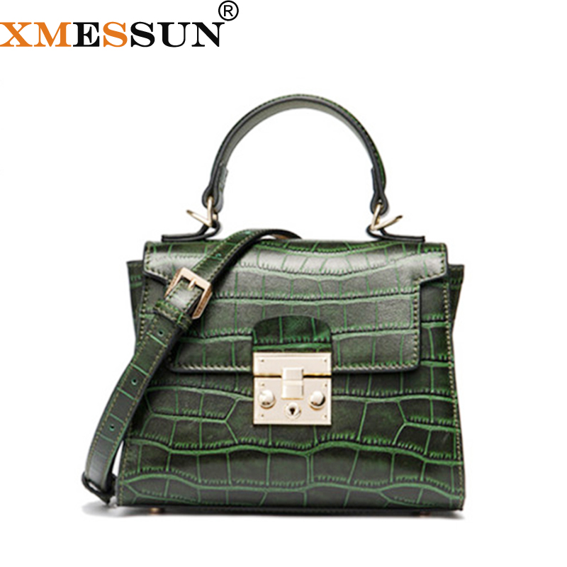 XMESSUN Women s Genuine Leather Crocodile Pattern Handbag Snake Shoulder Crossbody Bags Female 2019 New Feminina