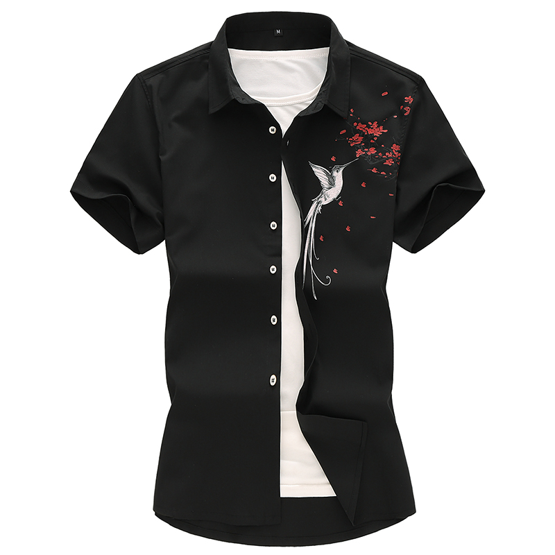 2019 Summer New Mens Shirt Large Size Male Fashion Casual Printed Short Sleeve Brand Clothing 5XL 6XL 7XL