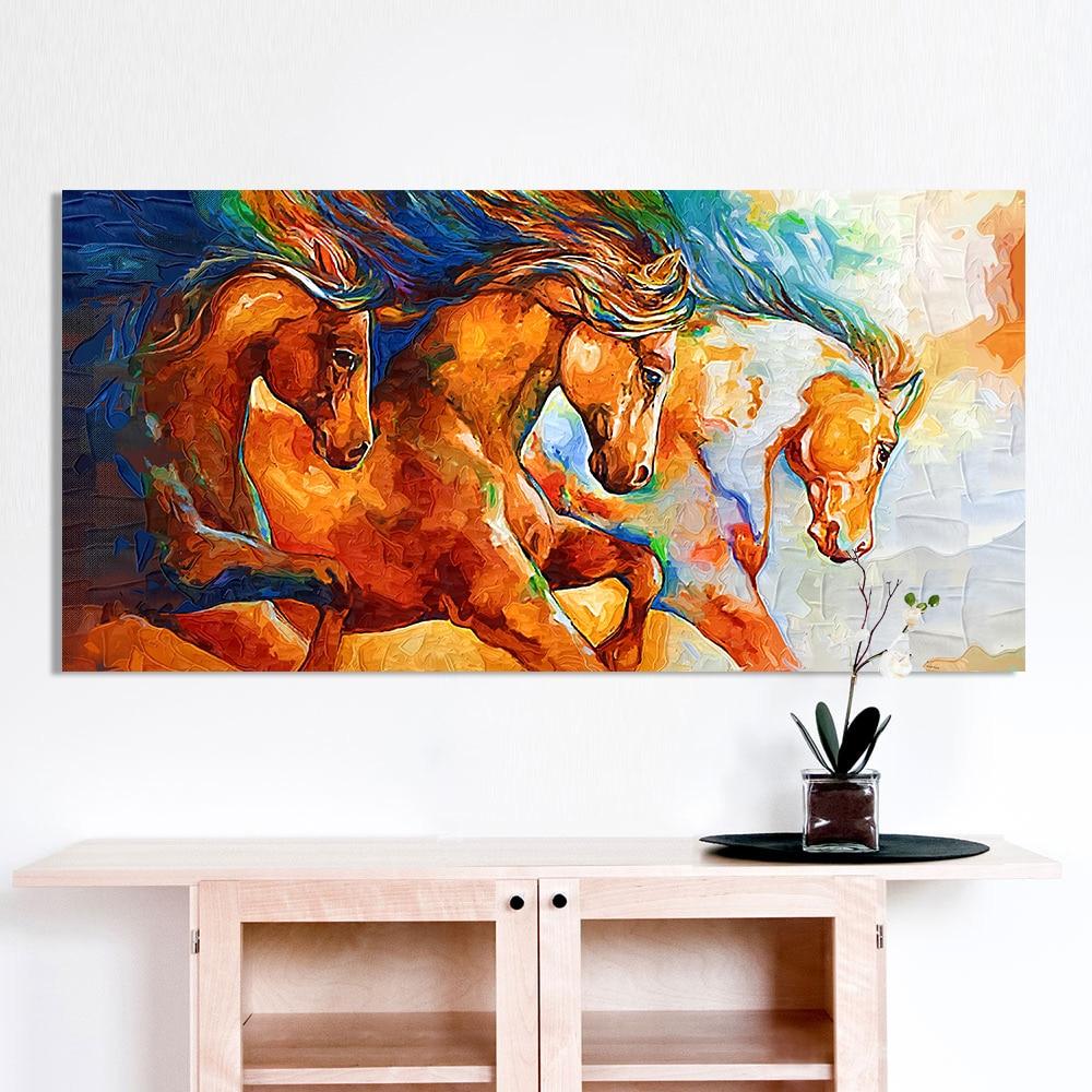 HDARTISAN Leinwand Wandkunst Drei Pferde Laufen Malerei Tier Bilder ...