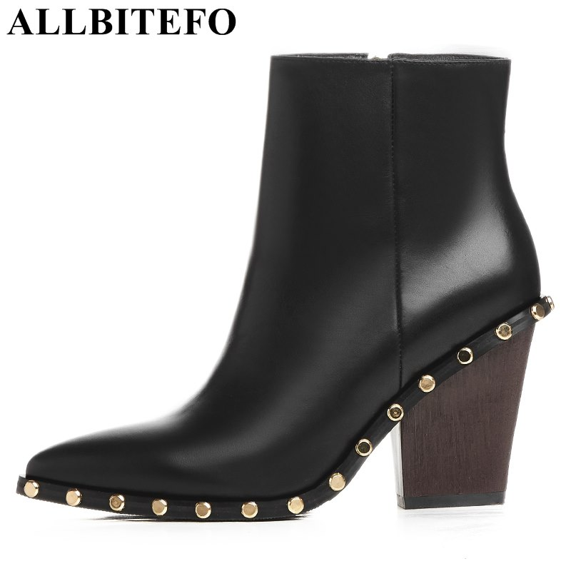 цена на ALLBITEFO fashion brand genuine leather pointed toe wedges heel platform women boots rivets high heels martin boots ankle boots