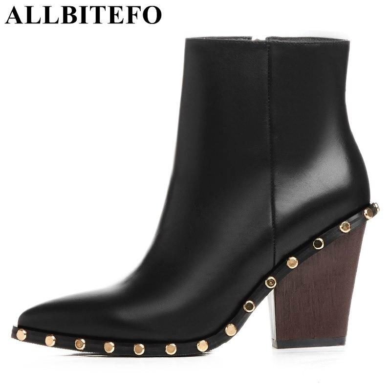 Ayakk.'ten Ayak Bileği Çizmeler'de ALLBITEFO moda marka hakiki deri sivri burun takozlar topuk platformu kadın çizmeler perçinler yüksek topuklu deri çizmeler yarım çizmeler'da  Grup 1