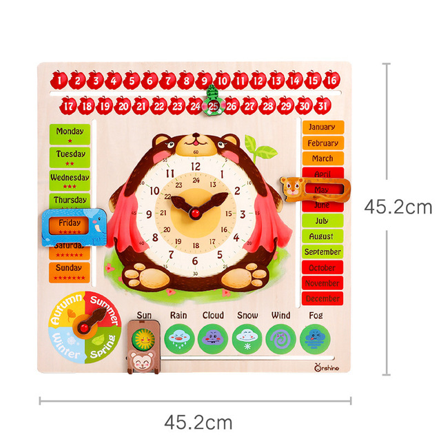Children Calendar Time learning wooden toys Cartoon bear time cognitive board Weather calendar clock Kids STEM educational toys