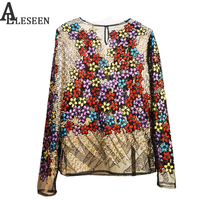 European Top Grade Blouse 2017 New Autumn High Quality Full Sleeve Embroidery Colorful Sequined Black Apricot