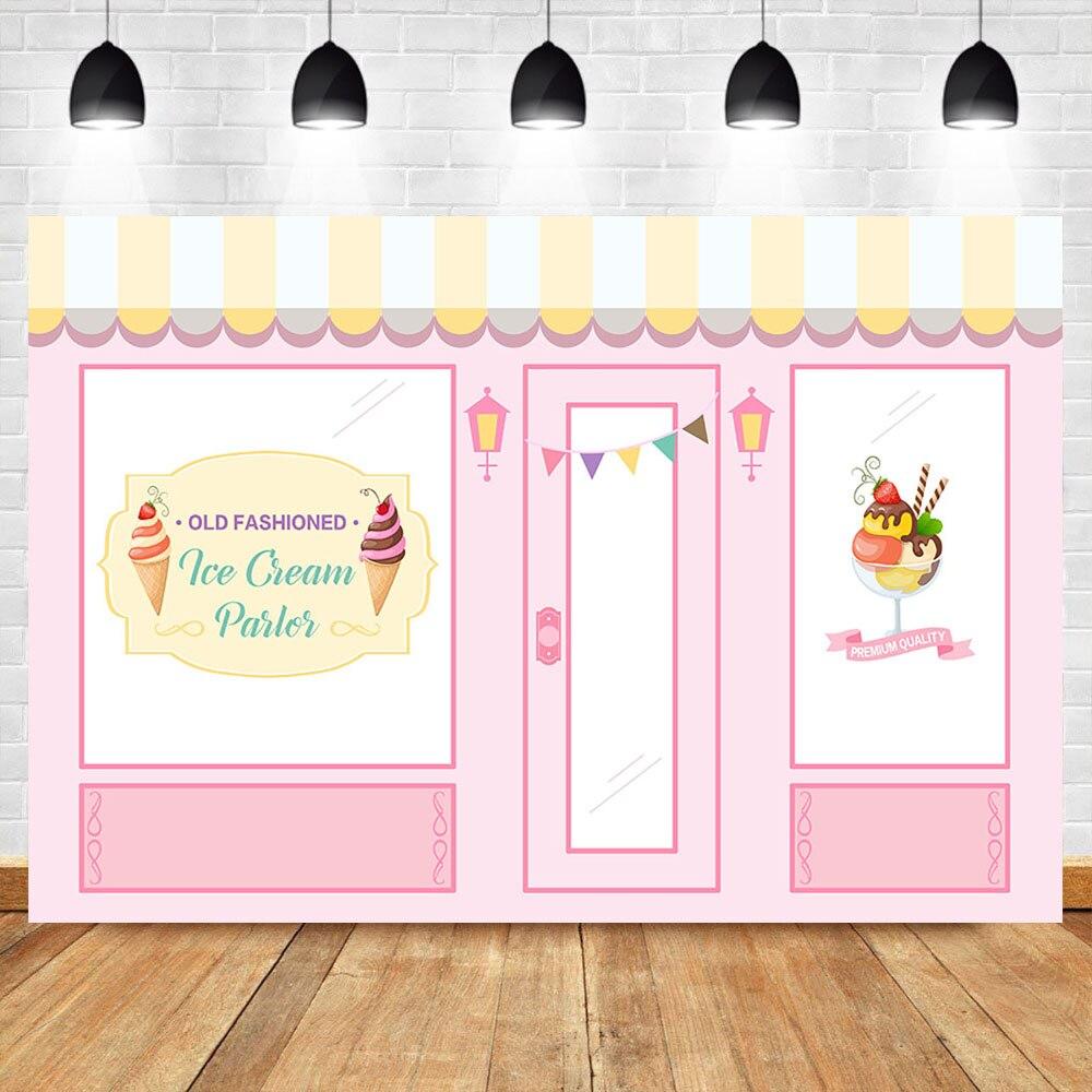 Neoback Vecchio Stile Ice Cream Salone Di Sfondo Bambino Doccia Foto Sfondo Rosa Ice Cream Shop Festa Di Compleanno Della Bandiera Fondali