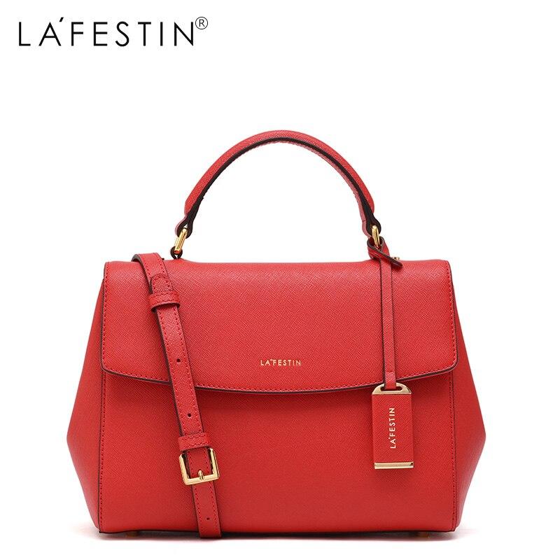LAFESTIN Soild <font><b>Handbag</b></font> Leather Shoulder Bag 2017 Fashion Women Designer Bags Crossbody Luxury brands Bag bolsa