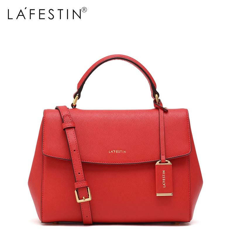 LAFESTIN Soild Handbag Leather Shoulder s