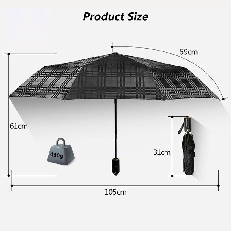 Vent pliant automatique mâle parapluie pluie femmes pluie noir revêtement Auto luxe grand coupe-vent parapluies pour hommes 50Ry123
