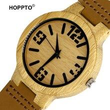 HOPPTO Nuevo Diseñador Reloj De Madera de Lujo con Correa de Cuero Relojes de Pulsera Movimiento de Japón 2035 Cuarzo Reloj De Madera para el Amigo