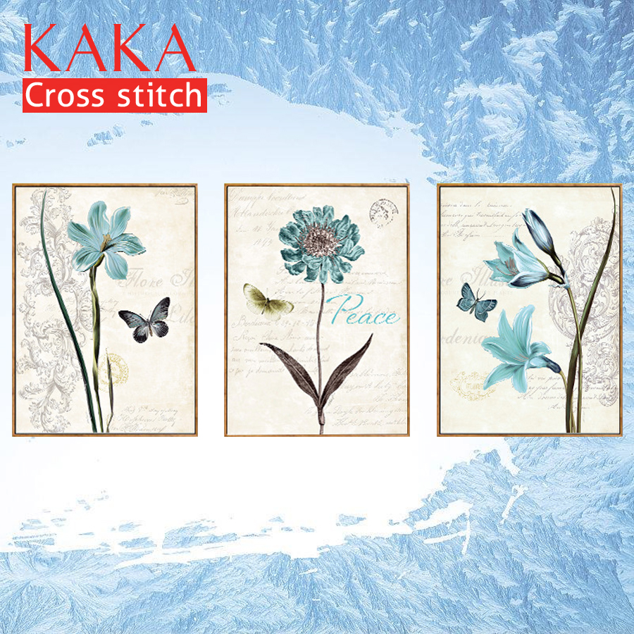 Kaka Cross Stitch Kits Embroidery Needlework Sets With Printed Pattern,11ct Canvas,home Decor For Garden House,5d Flowers Neither Too Hard Nor Too Soft Package