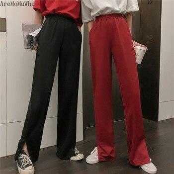 AreMoMuWha drapeado pantalones casuales sueltos de verano de las mujeres nuevos pantalones Retro partido tenedor trapeador pantalones verano campana inferior pantsMH267