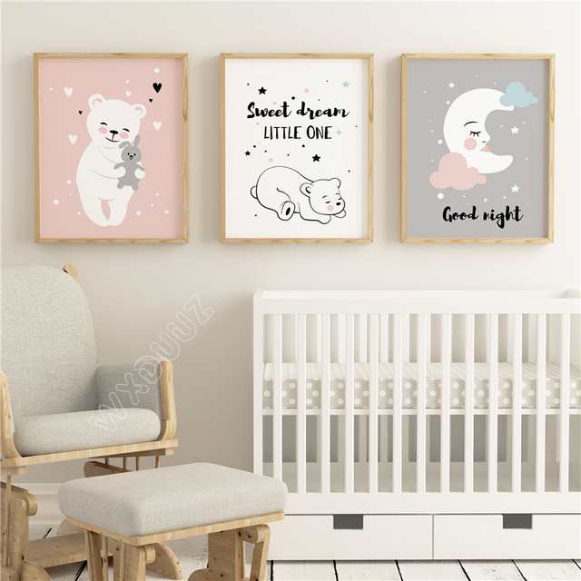 Wxduuz Baby Moon Animal Nursery Posters And Prints Wall Art Canvas Painting Decorative Picture Nordic Style