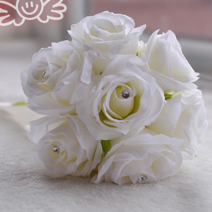 White Pink Red Rose Peony Silk Flowers Bridal Bouquet Bridesmaid ...