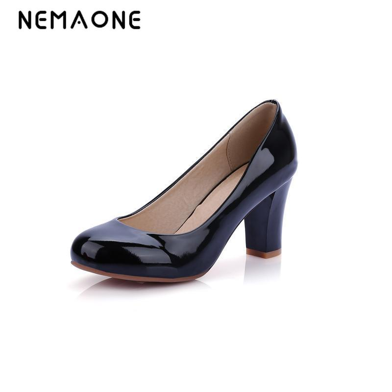NEMAONE Big size 32-43 New Hot sale Spring Summer Women shoes High heels Pumps Black Beige Pointed Toe Patent Leather Sale on new 2017 spring summer women shoes pointed toe high quality brand fashion womens flats ladies plus size 41 sweet flock t179