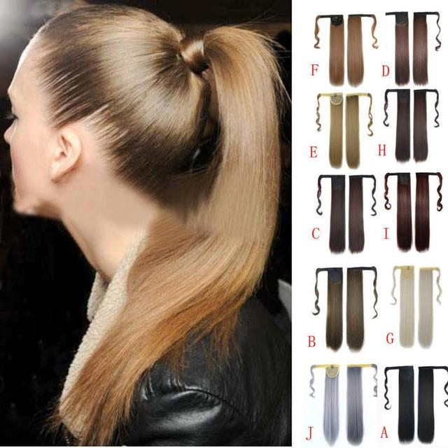 Real New Clip In Human Hair Extension Straight Pony Tail Wrap Around