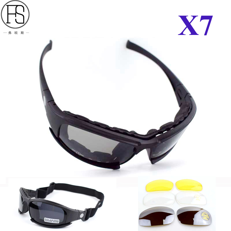 X7 Tactical Glasses C6 Shooting Airsoft Goggles Oculos Ciclismo Sport Sunglasses Men Polarized Military Hiking Hunting Glasses