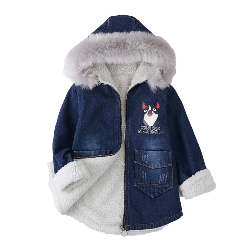 Rlyaeiz Winter Jackets For Girls 2018 Fashion Printed Thicken Fleece Warm Coat Girl's Mid-long Fur Collar Hooded Parka Coats thicken parka for men 2016 winter fashion design fleece liner men casual coats hooded slim fit keep warm hombre brand jackets
