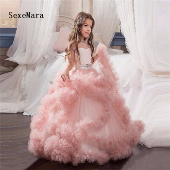 New Blush Pink Flower Girl Dresses for Wedding Ball Gown Cloud Beaded Waist Kids Pageant Gowns for Special Occasion Custom Made