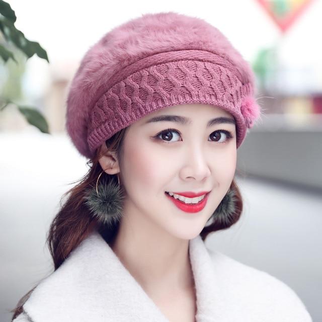 a4ec5bbc22372 HT1922 Women Beret Hat New Women Knitted Hats Ladies Solid Rabbit Fur Hats  Female Berets Thick Warm Autumn Winter Hats for Women
