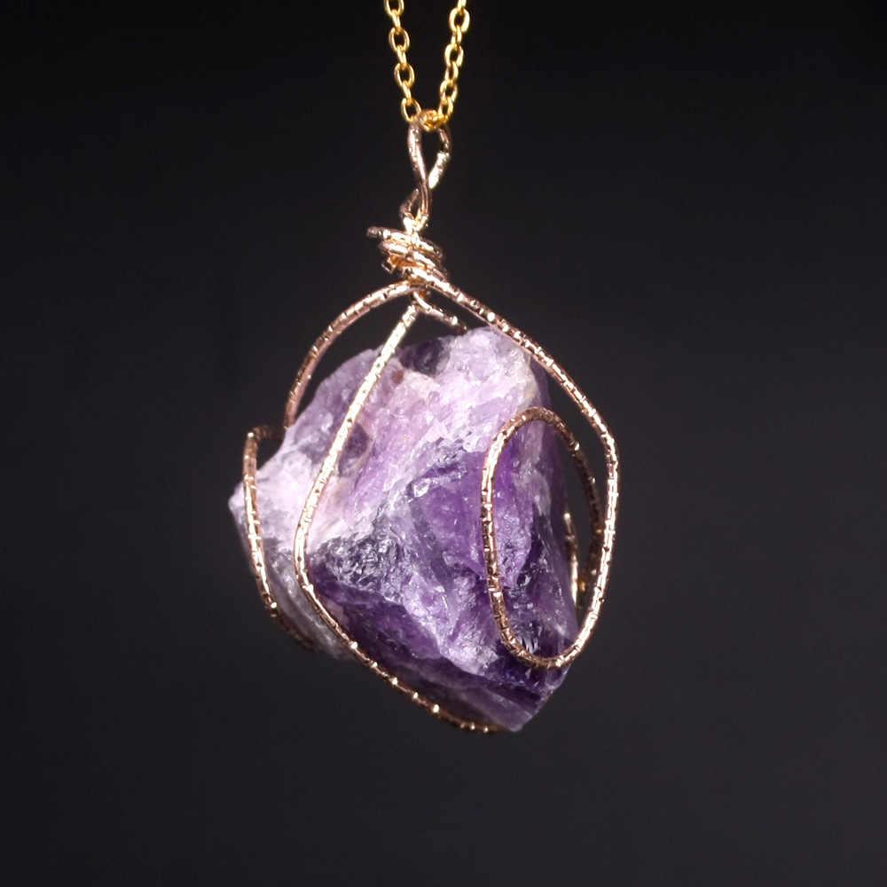 חדש קלאסי בעבודת יד משתרג סדיר טבעי אבן תליון סגול קריסטל ורוד קוורץ קריסטל שרשרת לנשים