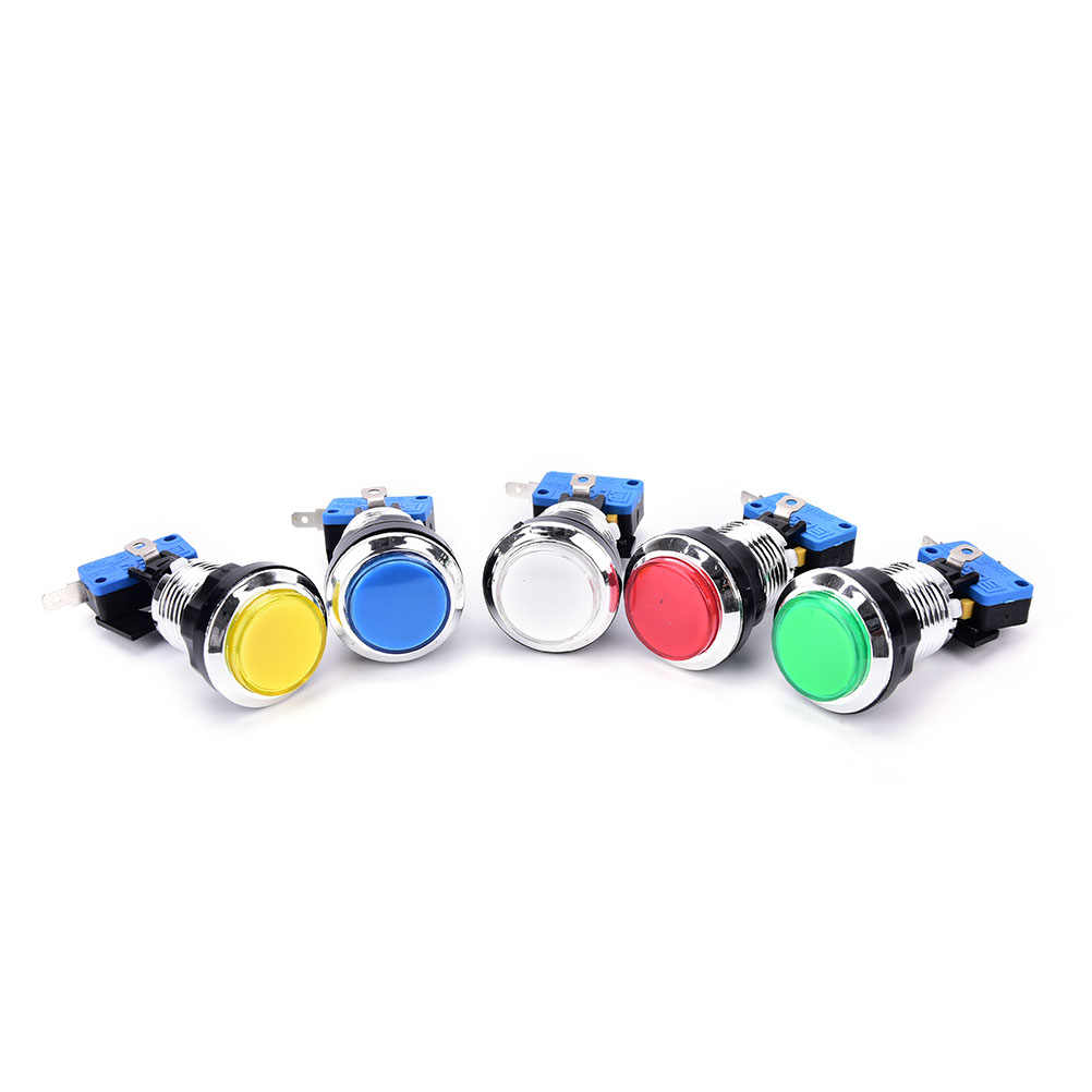 5 Màu Sắc arcade push button Chrome Mạ illuminated 12 v LED Arcade Push Button với microswitch