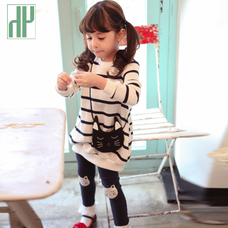 Kids clothes fashion girls clothing sets little striped cat baby girl long sleeve cotton 2pc toddler girls children clothing set children s cotton striped t shirt pants cartoon cute kitty cat bow striped long sleeved kt baby girl s clothing set kids clothes