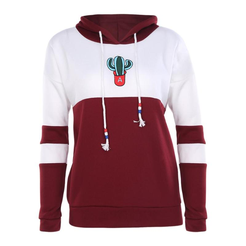Women Punk Style Cactus Print Hoodie Men Casual Pullovers Sweatshirt Tops Drawstring Outerwear Autumn Hip-Hop Boys Loose Clothes