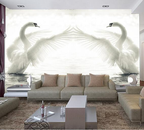 great wall 3d large white swan lake landscape wallpaper. Black Bedroom Furniture Sets. Home Design Ideas