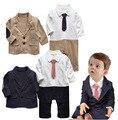 Осень дети малыша мальчиков с длинным рукавом боди ползунки + куртка комплектов одежды черный новорожденный bebe мальчика комбинезон одежда DY089C