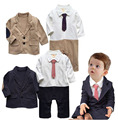 Autumn Kids Toddler Boys Long sleeve Bodysuits romper + jacket Clothing sets black Newborn bebe Baby Boy jumpsuit Clothes DY089C