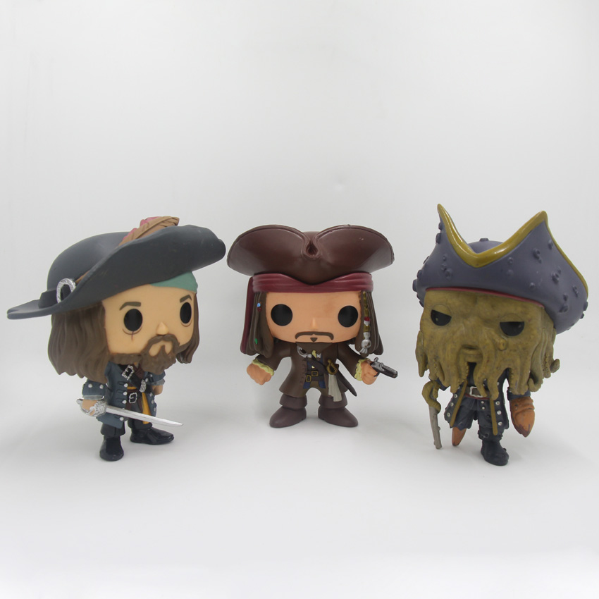 Pirates of the Caribbean Figures Toys 10cm Captain Jack Sparrow Barbossa DAVY JONES PVC  ...
