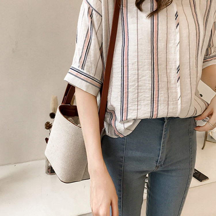 BEFORW 2019 Loose Plus Size Blouses Ladies Tops Fashion Stripe Casual Blouse Shirt Women Harajuku V Neck Summer Chiffon Shirts in Blouses amp Shirts from Women 39 s Clothing