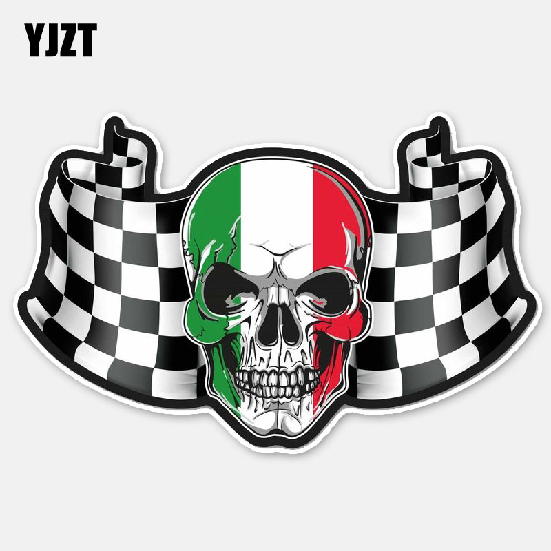 YJZT 15.5CM*9.8CM Creative Flag Italy Skull Head Helmet Motorcycle Car Sticker Decal 6-2781