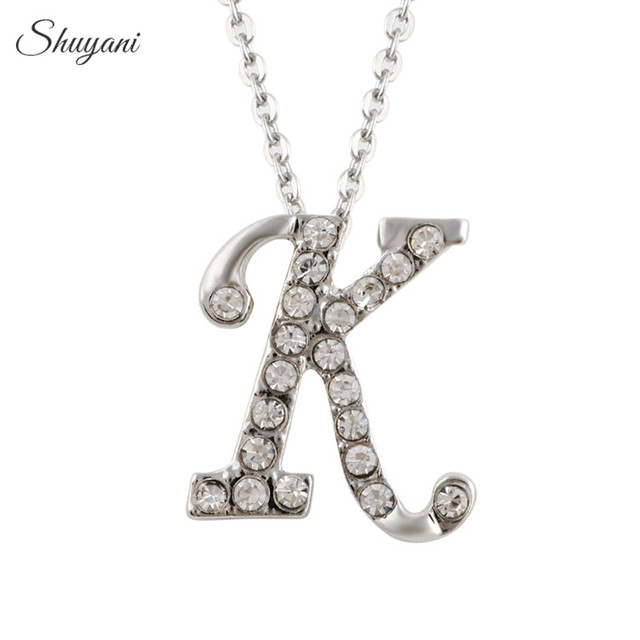 Letter k Necklace ALP Shuyani Silver Plated Charms 26 Initial Letter K Necklace Pendant Crystal  Alphabet Statement Necklace Women