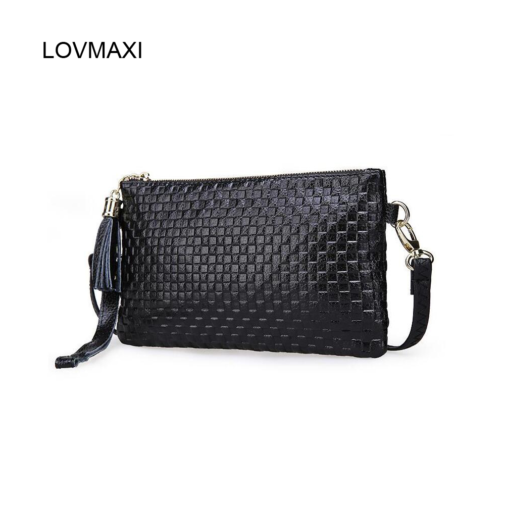 2017 Genuine Leather Women Messenger Bags Small Tassel Plaid Embossed Clutches Crossbody Shoulder Bags Fashion Handbags