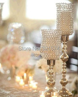 4set/lot Glass Crystal Candle Holders, Wedding Centerpiece & Home Decor, Free Shipping