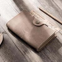Gray 100% Genuine Leather Notebook Handmade Vintage Cowhide Diary Journal Sketchbook Planner Autumn fallen leave style written